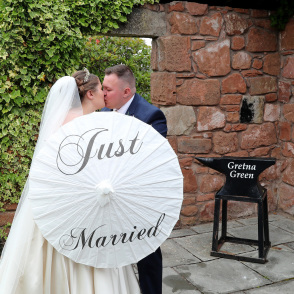 Just married at the Mill Forge ruin